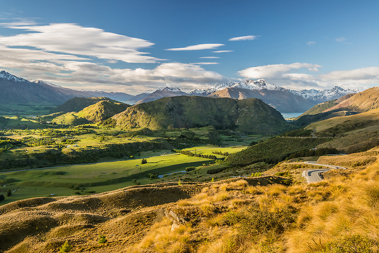 View of Queenstown Hill and snowy Cecil Peak from Coronet Peak Road, South Island, New Zealand - stock photo, canvas, fine art print