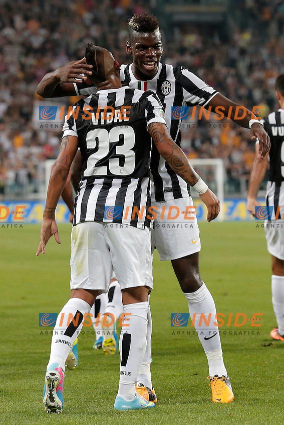 Arturo Vidal Juventus, Paul Pogba Juventus,<br /> Torino 31-08-2013<br /> Juventus Stadium <br /> Football Calcio 2013/2014 Serie A <br /> Juventus - Lazio <br /> Foto Marco Bertorello Insidefoto