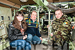 Listowel Military Tattoo: Meahbh & Michael Donovan, Athea & Trooper Shane Condon pictured inside the Mowag CRV military machine at the Listowel Military Tattoo festival in Listowel on Saturday last.