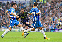 Wayne Rooney of Everton (10) Shoots at goal during the Premier League match between Brighton and Hove Albion and Everton at the American Express Community Stadium, Brighton and Hove, England on 15 October 2017. Photo by Edward Thomas / PRiME Media Images.