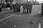 Anti Nazi League demonstration against a march by the National Front through the centre of Leicester 1978. Brick etc have been thrown at police by Anti Nazi League demonstrators, as they try to take back the centre of Leicester.  Leicester Castle in background.