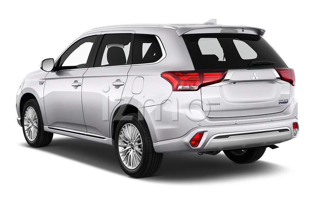 Car pictures of rear three quarter view of a 2018 Mitsubishi Outlander PHEV Instyle 5 Door SUV angular rear