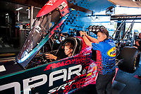 Aug 18, 2019; Brainerd, MN, USA; Crew member for NHRA top fuel driver Leah Pritchett during the Lucas Oil Nationals at Brainerd International Raceway. Mandatory Credit: Mark J. Rebilas-USA TODAY Sports