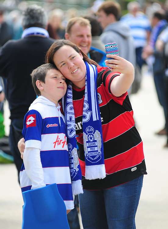 Two Queens Park Rangers fans take a selfie<br /> <br /> Photographer Chris Vaughan/CameraSport<br /> <br /> Football - The Football League Sky Bet Championship Play-Off Final - Derby County v Queens Park Rangers - Saturday 24th May 2014 - Wembley Stadium - London<br /> <br /> &copy; CameraSport - 43 Linden Ave. Countesthorpe. Leicester. England. LE8 5PG - Tel: +44 (0) 116 277 4147 - admin@camerasport.com - www.camerasport.com