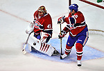 24 September 2009: Montreal Canadiens' goaltender Jaroslav Halak makes a first period pad save against the Boston Bruins at the Bell Centre in Montreal, Quebec, Canada. The Bruins edged out the Canadiens 2-1 after an overtime shootout in a pre-season matchup. Mandatory Credit: Ed Wolfstein Photo