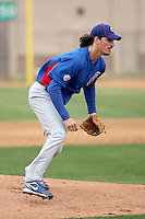 Jeff Samardzija #29 of the Chicago Cubs participates in pitchers fielding practice during spring training workouts at the Cubs complex on February 19, 2011  in Mesa, Arizona. .Photo by Bill Mitchell / Four Seam Images.