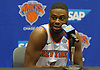 Emmanuel Mudiay of the New York Knicks fields questions during the team's Media Day held at Madison Square Garden Training Center in Greenburgh, NY on Monday, Sept. 24, 2018.