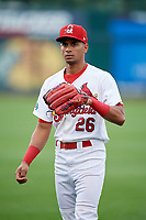 Springfield Cardinals Oscar Mercado (26) warms up before a game against the Corpus Christi Hooks on May 31, 2017 at Hammons Field in Springfield, Missouri.  Springfield defeated Corpus Christi 5-4.  (Mike Janes/Four Seam Images)