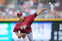 Lehigh Valley IronPigs starting pitcher Anthony Vasquez (15) in action against the Charlotte Knights at BB&T BallPark on May 30, 2015 in Charlotte, North Carolina.  The IronPigs defeated the Knights 1-0.  (Brian Westerholt/Four Seam Images)