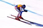 Discesa libera di sci alpino, disciplina Olimpica invernale. Downhill alpine skiing, winter olympic discipline.