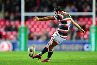 Freddie Burns of Leicester Tigers kicks for the posts. European Rugby Champions Cup match, between Leicester Tigers and Racing 92 on October 23, 2016 at Welford Road in Leicester, England. Photo by: Patrick Khachfe / JMP