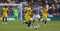 Chelsea's Eden Hazard battles with Huddersfield Town's Jonathan Hogg <br /> <br /> Photographer Stephen White/CameraSport<br /> <br /> The Premier League - Huddersfield Town v Chelsea - Saturday August 11th 2018 - The John Smith&rsquo;s Stadium<br />  - Huddersfield<br /> <br /> World Copyright &copy; 2018 CameraSport. All rights reserved. 43 Linden Ave. Countesthorpe. Leicester. England. LE8 5PG - Tel: +44 (0) 116 277 4147 - admin@camerasport.com - www.camerasport.com