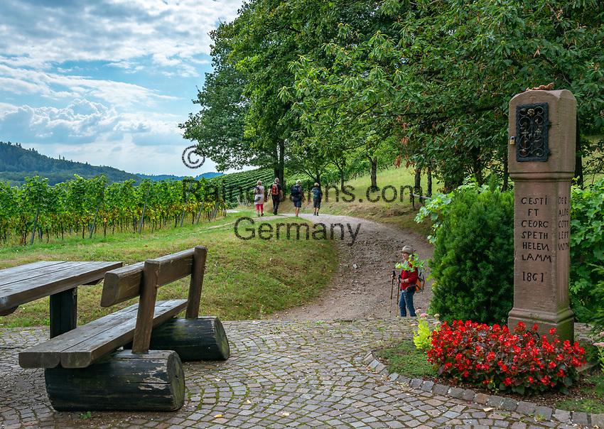 Germany, Baden-Wurttemberg, Northern Black Forest, Sasbachwalden: wine village at Baden Wine Route, hiking trail 'Geniesserpfad' at shrine 'Alde Gott' | Deutschland, Baden-Wuerttemberg, Nordschwarzwald, Sasbachwalden im Ortenaukreis: Weinort an der Badischen Weinstrasse gelegen, auf dem Wanderweg 'Geniesserpfad', Rastplatz am Bildstock 'Alde Gott'