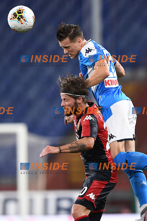 Lasse Schone of Genoa and Piotr Zielinski of SSC Napoli compete for the ball during the Serie A football match between Genoa CFC and SSC Napoli stadio Marassi in Genova ( Italy ), July 08th, 2020. Play resumes behind closed doors following the outbreak of the coronavirus disease. <br /> Photo Matteo Gribaudi / Image / Insidefoto