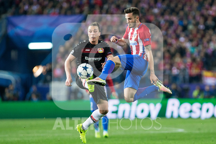 Saul Iniguez of Atletico de Madrid  during the match of Uefa Champions League between Atletico de Madrid and Bayer Leverkusen at Vicente Calderon Stadium  in Madrid, Spain. March 15, 2017. (ALTERPHOTOS / Rodrigo Jimenez)