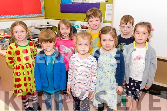 Pupils from Scoil Dhún Chaoin on their first day at school. Back left: Aoibhe Ní Shúilleabhain, Mallaí Ní Bhrosnachain, Art McKeown, Finn Ó Conchúir. Front left: Sean Ó Dalaigh, Kate Ní Shlattara, Siún Ní Fhlatharta, Meidhbhín Nic an tSíthígh.