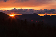 Sunrise from C.L. Graham Wangan Grounds Scenic Overlook on the Kancamagus Highway (route 112), which is one of New England's scenic byways located in the White Mountains, New Hampshire USA