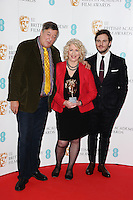 Stephen Fry, Anne Morrison and Sam Claflin at the announcement of nominations for the 2015 EE BAFTA Film Awards, BAFTA, London. 09/01/2015 Picture by: Steve Vas / Featureflash
