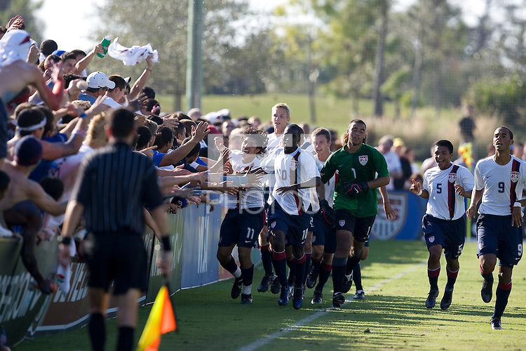 US U17 MNT celebrates their first goal against Brazil with the fans. 2007 Nike Friendlies, which are taking place from Dec. 6-9 at IMG Academies in Bradenton, Fla.