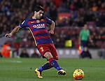 14.02.2016 Camp Nou, Barcelona, Spain. La Liga day 24. Match between FCBarcelona and Celta de Vigo. Picture show Luis Suarez take a shot on goal