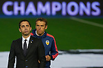 Gary Neville (L) head coach of Valencia CF and his brother Phil Neville assistant manager leaves the pitch prior to the game - UEFA Champions League Group H - Valencia CF vs Olympique Lyonnais - Mestalla Stadium - Valencia- Spain - 09th December 2015 - Pic David Aliaga/Sportimage