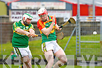 Kerry's hero Mikey Boyle drives home Kerry's third goal past Paul Doyle to clinch victory against Carlow during their NHL game in Tralee on Sunday