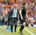 19.05.2018 Scottish Cup Final Celtic v Motherwell: Brendan Rodgers raging at linesman over tackles on Tierney