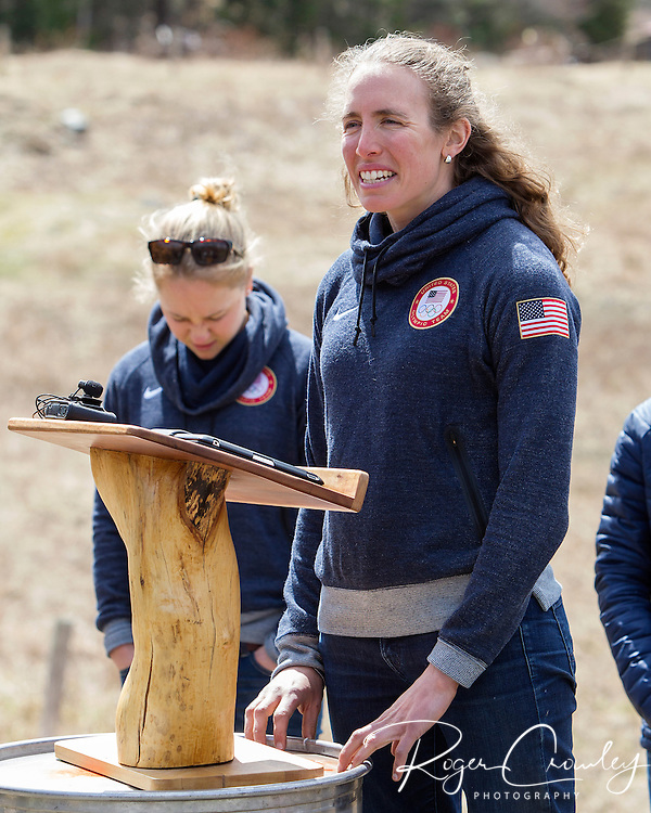 EAST MONTPELIER - USA Vermont Olympians speak at Morse Farm about the influence of climate change on winter sports they have experienced world wide and make suggestions on attacking the problem. Speaking, Susan Dunklee.