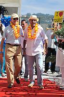 RIO DE JANEIRO, RJ, 12 DE FEVEREIRO DE 2012 - CARNAVAL RIO 2012 - O Prefeito Eduardo Paes(D) e o presidente do Comitê Organizador dos Jogos Olímpicos, Carlos Arthur Nuzman(E), na abertura oficial do novo Sambódromo do Rio, que também será utilizado nos Jogos Olímpicos, e que após reformas recebeu o traçado original projetado por Oscar Niemeyer há quase 30 anos. <br /> FOTO GLAICON EMRICH - NEWS FREE.