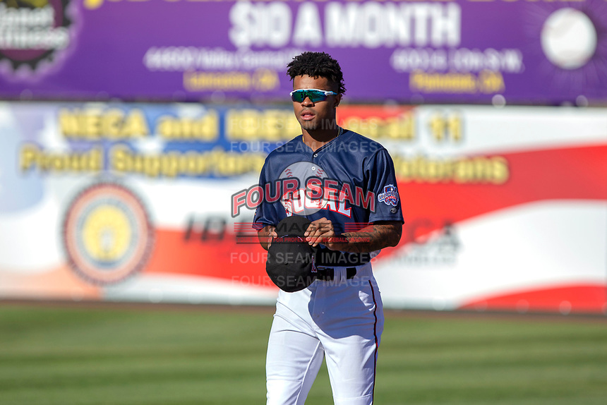 Buddy Reed (23) of the Lake Elsinore Storm prior to the 2018 California League All-Star Game at The Hangar on June 19, 2018 in Lancaster, California. The North All-Stars defeated the South All-Stars 8-1.  (Donn Parris/Four Seam Images)