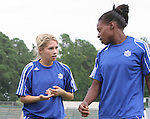 29 July 2006: Amanda Cicchini (CAN) (l) and Charmaine Hooper (CAN) (r). The Canada Women's National Team trained at SAS Stadium in Cary, North Carolina, in preparation for an International Friendly match against the United States to be played on Sunday, July 30.