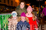 Front L-R Sisters Reailtin, Bebhinn and Muireann O'Donoghue pictured with their cousin Siun O'Connell all from Killarney at the Christmas in Killarney Children's Magic Parade last Saturday.