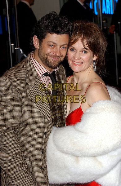 "ANDY SERKIS & GUEST.Premiere of ""King Kong"", Odeon Leicester Square, London..December 8th, 2005.Ref: BEL.half length white fur facial hair stubble beard.www.capitalpictures.com.sales@capitalpictures.com.© Capital Pictures."