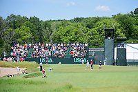Rafael Cabrera Bello (ESP), Brooks Koepka (USA) and Thomas Pieters (BEL) putt on 13 during Friday's round 2 of the 117th U.S. Open, at Erin Hills, Erin, Wisconsin. 6/16/2017.<br /> Picture: Golffile | Ken Murray<br /> <br /> <br /> All photo usage must carry mandatory copyright credit (&copy; Golffile | Ken Murray)