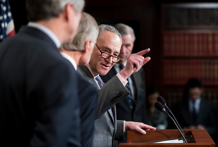 UNITED STATES - FEBRUARY 17: Senate Minority Leader Chuck Schumer, D-N.Y., speaks during the Senate Democrats' news conference on the nomination of Scott Pruitt to be administrator of the EPA on Friday, Feb. 17, 2017. (Photo By Bill Clark/CQ Roll Call)