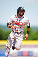 Richmond Flying Squirrels catcher Eliezer Zambrano (2) running the bases during a game against the Binghamton Mets on June 26, 2016 at NYSEG Stadium in Binghamton, New York.  Binghamton defeated Richmond 7-2.  (Mike Janes/Four Seam Images)