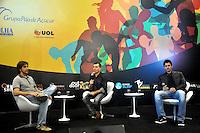 SAO PAULO, SP, 12 DE JULHO 2012 –Daniel Portela e Paulo André participam de mesa redonda durante abertura do Brazil Sports Show na Bienal do Ibirapuera. O evento, que ja esta em sua segunda edicao, conta com mais de onze feiras tematicas em mais de vinte mil metros quadrados de espaco. E a maior feira da categoria no pais e atrai gente de todo o Brasil para prestigiar os workshops, e aproveitar. Somente hoje, a entrada e gratuita, ate o dia 15, paga-se 20,00 para o acesso. (FOTO: THAIS RIBEIRO / BRAZIL PHOTO PRESS).