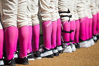 """The Wake Forest Demon Deacons wore pink to """"Strike out Cancer"""" as they played host to the Virginia Tech Hokies at Wake Forest Baseball Park on March 7, 2015 in Winston-Salem, North Carolina.  The Hokies defeated the Demon Deacons 12-7 in game one of a double-header.   (Brian Westerholt/Four Seam Images)"""