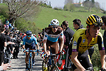 Riders on the Ixua a brutal 20% off road climb during Stage 5 of the Tour of the Basque Country 2019 running 149.8km from Arrigorriaga to Arrate, Spain. 12th April 2019.<br /> Picture: Colin Flockton | Cyclefile<br /> <br /> <br /> All photos usage must carry mandatory copyright credit (© Cyclefile | Colin Flockton)