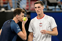 7th January 2020; Sydney Olympic Park Tennis Centre, Sydney, New South Wales, Australia; ATP Cup Australia, Sydney, Day 5; Great Britain versus Moldova;Jamie Murray and Joe Salisbury of Great Britain versus Alexander Cozbinov and Radu Albot of Moldova; Jamie Murray and Joe Salisbury of Great Britain talk tactics during their match against Alexander Cozbinov and Radu Albot of Moldova - Editorial Use