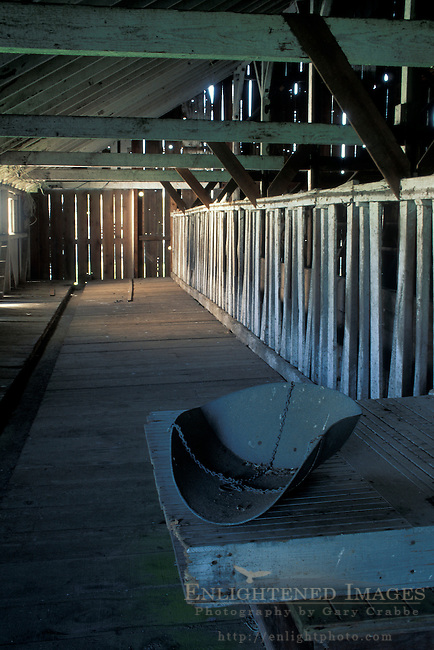Interior of wood barn at historic Pierce Point Ranch, Point Reyes National Seashore, Marin County, California