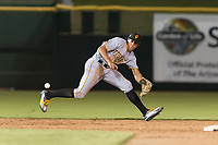 Surprise Saguaros shortstop Cole Tucker (2), of the Pittsburgh Pirates organization, fields a ground ball during an Arizona Fall League game against the Scottsdale Scorpions at Scottsdale Stadium on October 15, 2018 in Scottsdale, Arizona. Surprise defeated Scottsdale 2-0. (Zachary Lucy/Four Seam Images)