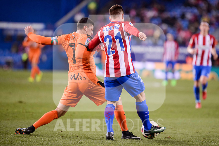 Atletico de Madrid's Kevin Gameiro and SD Eibar's Ander Capa during Copa del Rey match between Atletico de Madrid and SD Eibar at Vicente Calderon Stadium in Madrid, Spain. January 19, 2017. (ALTERPHOTOS/BorjaB.Hojas)