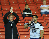 12th September 2017, Oakwell, Barnsley, England; Carabao Cup, second round, Barnsley versus Derby County; two Derby fans singing to support their team before tonights game