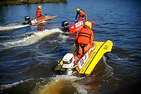80-P, 199-M and 48-Z head out of the pits.   (Outboard Hydroplane)