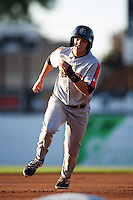 Aberdeen Ironbirds center fielder Cole Billingsley (4) running the bases during a game against the Batavia Muckdogs on July 14, 2016 at Dwyer Stadium in Batavia, New York.  Aberdeen defeated Batavia 8-2. (Mike Janes/Four Seam Images)