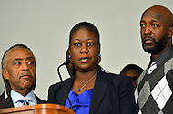 April 11, 2012  (Washington, DC)  Sabrina Fulton (c) and Tracy Martin (r), parents of Trayvon Martin, with Al Sharpton during a news conference at the Washington Convention Center April 11, 2012. (Photo by Don Baxter/Media Images International)