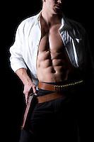 western ranch cowboy muscled torso romance novel cover photograph by Jenn LeBlanc and Studio Smexy