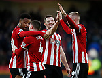 Jack O'Connell of Sheffield Utd celebrates the win during the Premier League match at Bramall Lane, Sheffield. Picture date: 9th February 2020. Picture credit should read: Simon Bellis/Sportimage