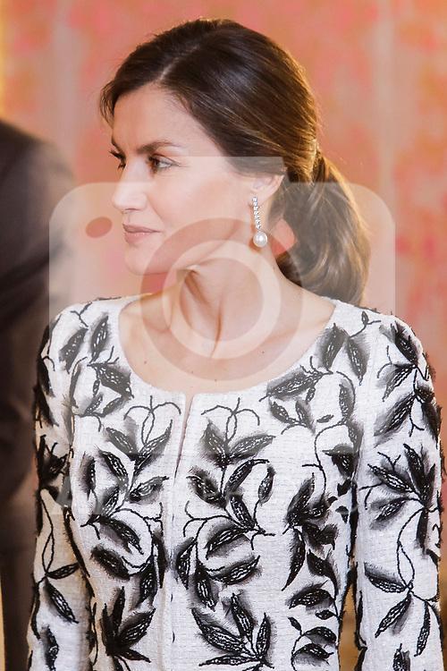 Queen Letizia of Spain before lunch in honor of Arabia Saudi heir prince, Mohámed bin Salmán at Royal Palace in Madrid, Spain. April 12, 2018. (ALTERPHOTOS/Borja B.Hojas)